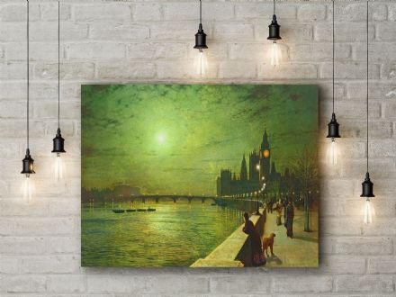 John Atkinson Grimshaw: Reflections on the Thames, Westminster. Fine Art Canvas.